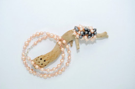 Inel cu perle - 6 & 8 mm - Dark Grey & Peach
