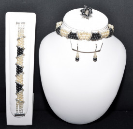 Set bijuterii cu perle SWAROVSKI ELEMENTS - black pearl & cream pearl