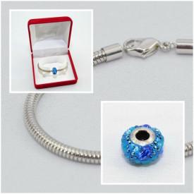 SWAROVSKI charm & bracelet - aquamarine