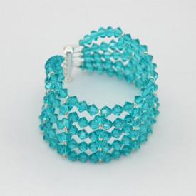 Bratara 5 randuri cu cristale  SWAROVSKI ELEMENTS - Blue Zircon