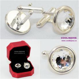 Butoni din argint cu cristale SWAROVSKI ELEMENTS - crystal