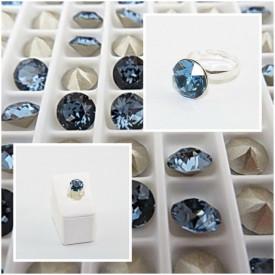 Inel cu cristal SWAROVSKI ELEMENTS - Denim Blue