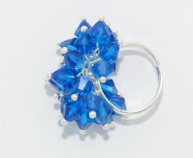 Inel cu cristale biconice - 6mm - Capri Blue