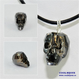Pandantiv cu cristal SWAROVSKI ELEMENTS Skull Bead 19 mm, silver night