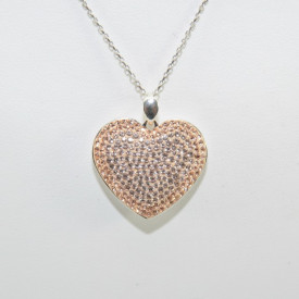 Pave Heart Pendant - Silk/Light Peach