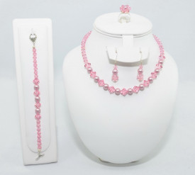 Set bijuterii cu cristale si perle SWAROVSKI ELEMENTS - powder rose