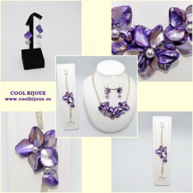 Set bijuterii cu sidef si perle SWAROVSKI ELEMENTS - mauve