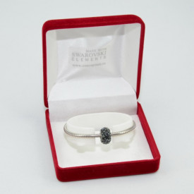 SWAROVSKI charm & bracelet - silver night
