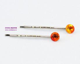 Agrafe de par cu cristale SWAROVSKI ELEMENTS - fire opal