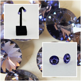 Cercei surub cu cristale SWAROVSKI ELEMENTS - Tanzanite