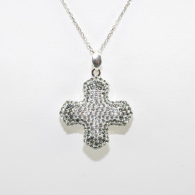 Pave Greek Cross Pendant - Crystal/Black Diamond