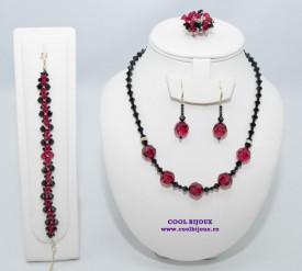 Set bijuterii cu cristale SWAROVSKI ELEMENTS - ruby