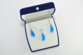 Wing Pendant, Crystal Capri Blue, 23 mm