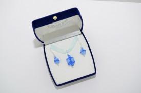 Cercei si pandantiv cu cristale SWAROVSKI ELEMENTS - Sapphire