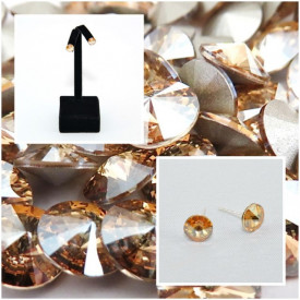 Cercei surub cu cristale SWAROVSKI ELEMENTS - Golden Shadow