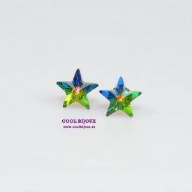 Cercei surub cu cristale SWAROVSKI ELEMENTS - Star Vitral Medium