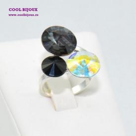 Inel cu 3 cristale SWAROVSKI ELEMENTS - Black & White