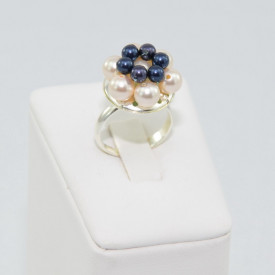 Inel cu perle SWAROVSKI ELEMENTS - Night blue & creamrose