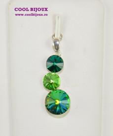 Pandantiv argint cu 3 cristale SWAROVSKI ELEMENTS - Mix Green