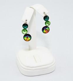 Set bijuterii argint cu 3 cristale SWAROVSKI ELEMENTS - Mix Green
