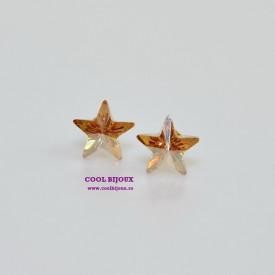 Cercei surub cu cristale SWAROVSKI ELEMENTS - Star Golden Shadow
