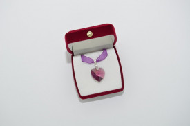 Heart Pendant , Amethyst, 18 mm