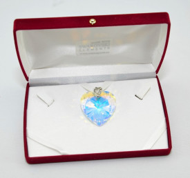 Heart Pendant, Crystal Aurore Boreale, 18/40 mm