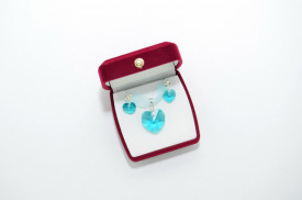 Heart Pendant, Crystal Blue Zircon, 10/18 mm