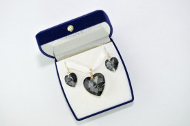 Heart Pendant, Crystal Silver Night, 18/28 mm