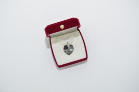 Heart Pendant, Crystal Silver Night, 18 mm