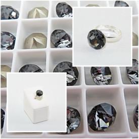 Inel cu cristal SWAROVSKI ELEMENTS - Silver Night