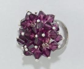Inel cu cristale biconice - 6mm - Amethyst