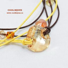 Bratara din piele cu cristale SWAROVSKI ELEMENTS - maro & galben