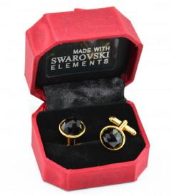 Butoni cu cristale SWAROVSKI ELEMENTS - Jet