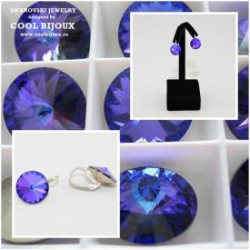 Cercei cu cristale SWAROVSKI ELEMENTS - Heliotrope