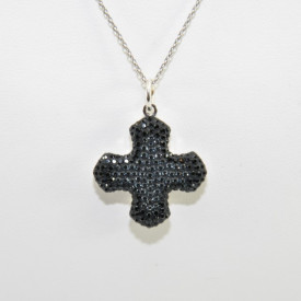 Pave Greek Cross Pendant - Crystal Silver Night/Jet