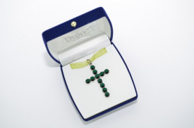 Rivoli Cross Pendant - Fancy Multi Setting - Emerald