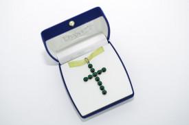 Rivoli Cross Pendant - Fancy Multi Setting - Emerald