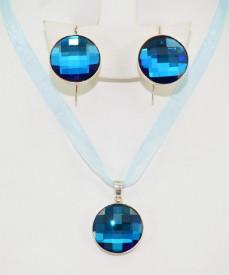 Set bijuterii argint cu cristale SWAROVSKI ELEMENTS - Bermuda Blue