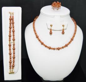 Set bijuterii cu cristale si perle SWAROVSKI ELEMENTS - cooper