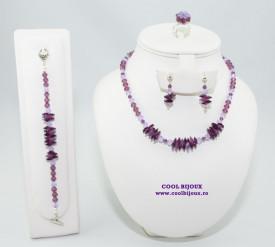 Set bijuterii cu cristale SWAROVSKI ELEMENTS - amethyst