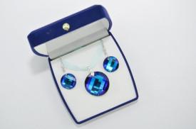 Set bijuterii cu cristale SWAROVSKI ELEMENTS - bermuda blue & capri blue