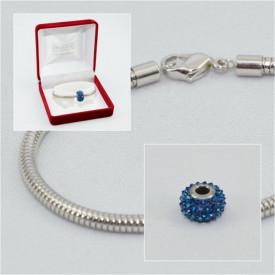 SWAROVSKI charm & bracelet - bermuda blue