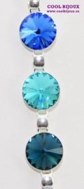 Bratara cu cristale SWAROVSKI ELEMENTS - Mix Sapphire Blue