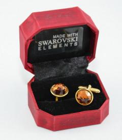 Butoni cu cristale SWAROVSKI ELEMENTS - smoked topaz