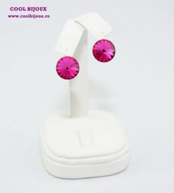 Cercei cu cristale SWAROVSKI ELEMENTS - Fuchsia