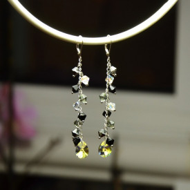 Cercei cu cristale SWAROVSKI ELEMENTS - Mix Black & white -  80 mm