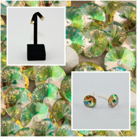 Cercei surub cu cristale SWAROVSKI ELEMENTS - Luminous Green