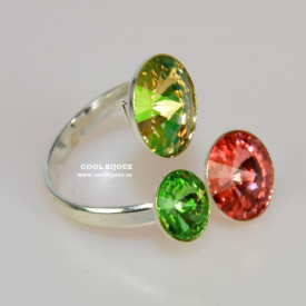 Inel cu 3 cristale SWAROVSKI ELEMENTS - Mix Spring