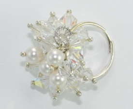 Inel cu cristale biconice si perle - 6mm - Crystal AB